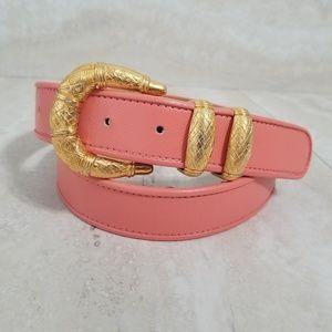 Carlisle Coral Pink Gold Buckle Designer Belt XL